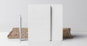 Blueprint of two standing notebooks mockup