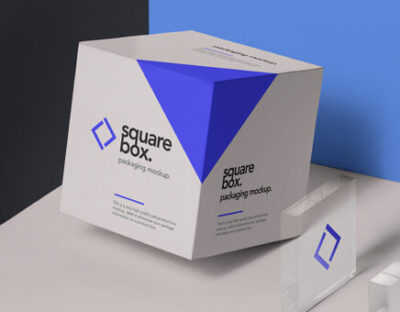 square box packaging mockup