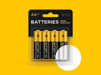 AA Battery Mockup Available for Free Download