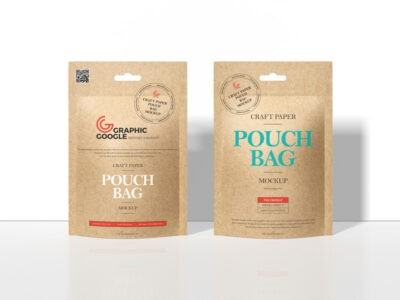 Craft paper pouch bag mockup
