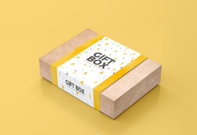 Craft Paper Gift Box Mockup PSD