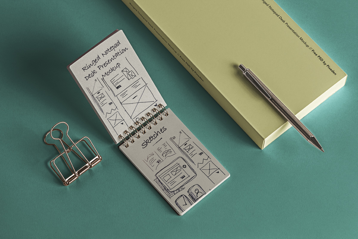 Free PSD Mini Notepad Mockup