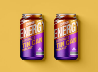 Free Drinks Can PSD Mockup