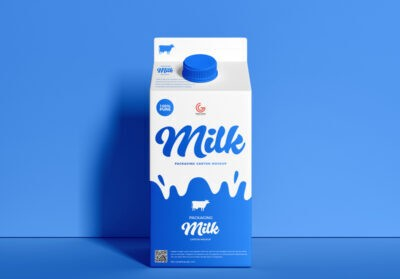 Free Milk Cartoon Mockup