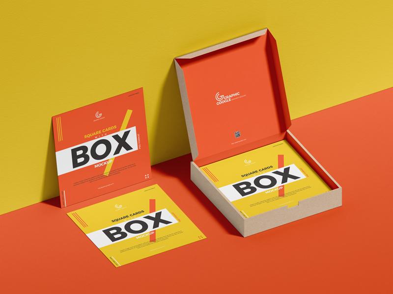 Free Square Card box PSD Mockup