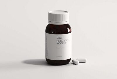 Free mini pills mockup bottle