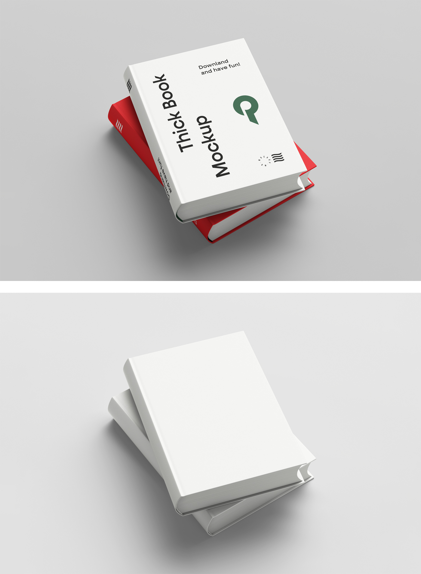 Free thick Book Cover Mockup