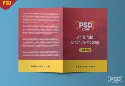 Free A4 bifold brochure mockup