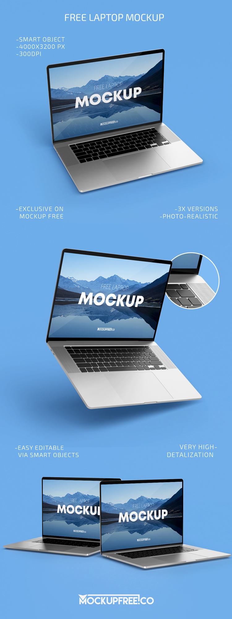Free Laptop with Keyboard Mockup