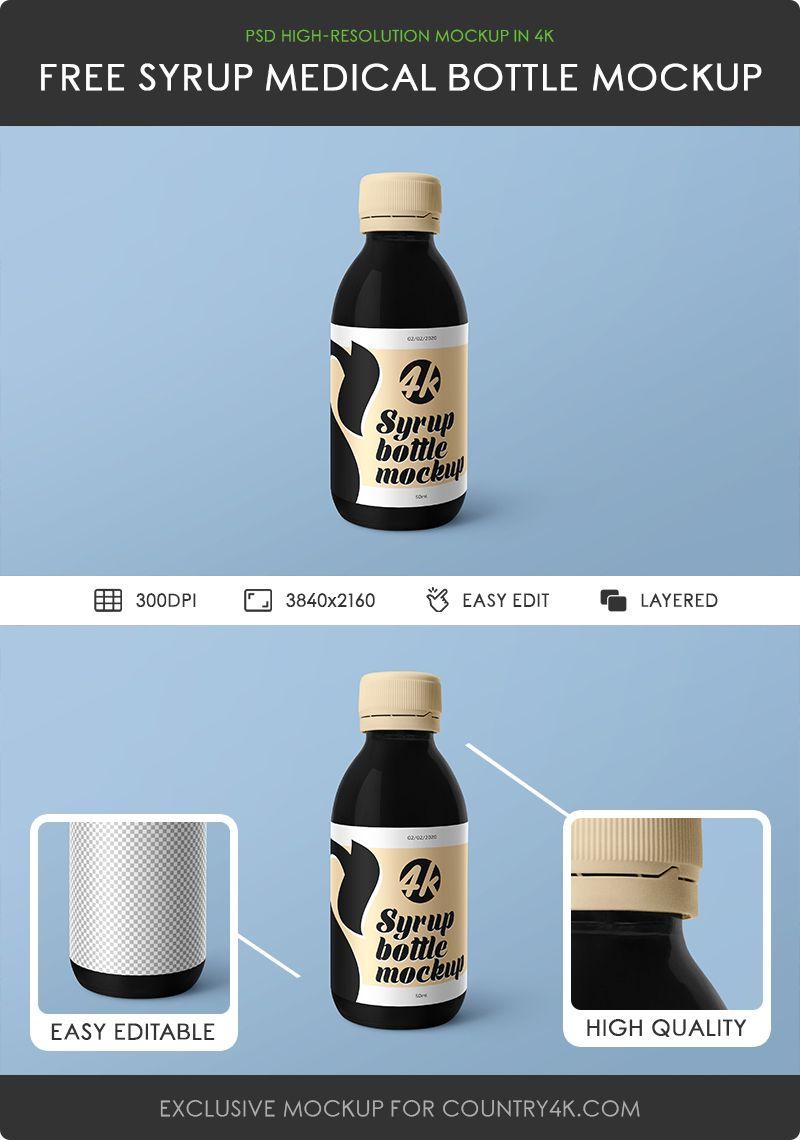 Free Medical Syrup Bottle Mockup