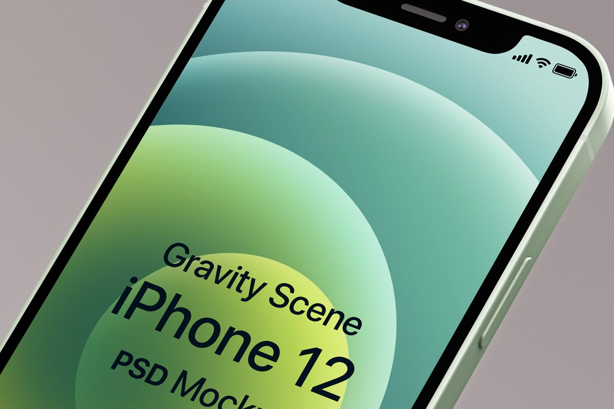 Gravity iPhone 12 PSD Mockup