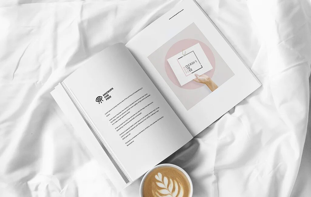 Free Open Magazine in Bedroom PSD Mockup
