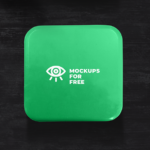 Green Metal Box PSD Mockup