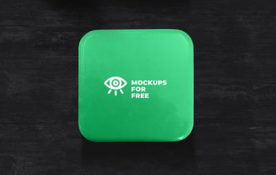 Green Metal Box PSD Mockup