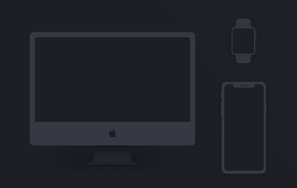 Free Apple Product Set PSD Mockup