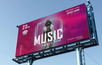 Music Advertisement Billboard Mockup