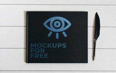 Black Notebook Cover Mockup