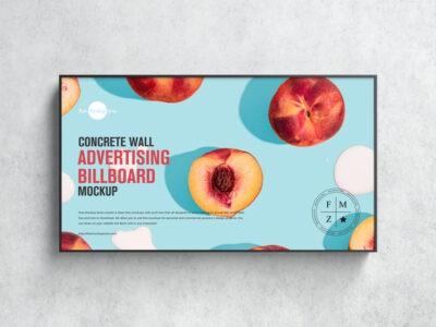 Free Wall Advertising Billboard Mockup
