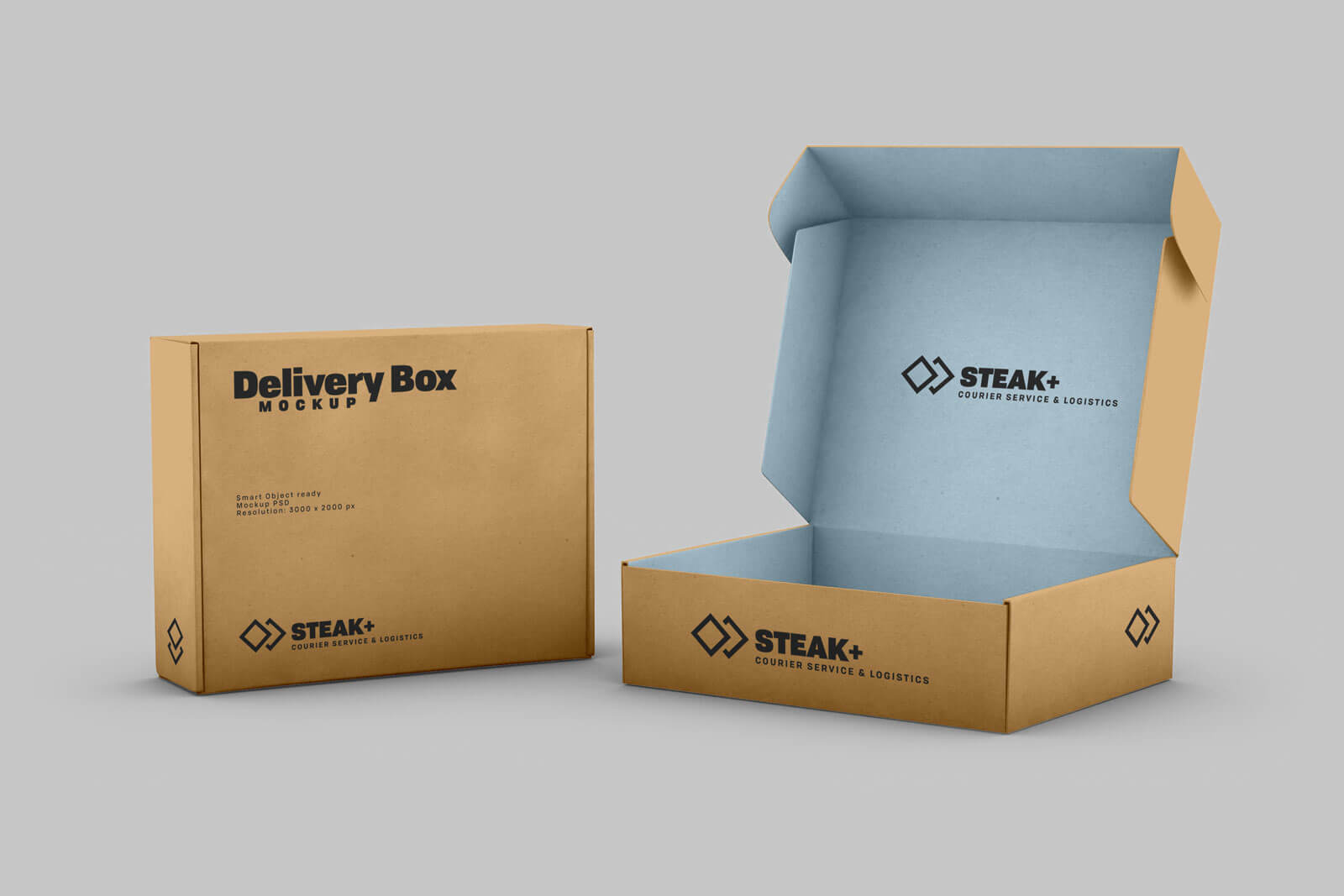 Free Delivery Box PSD Mockup