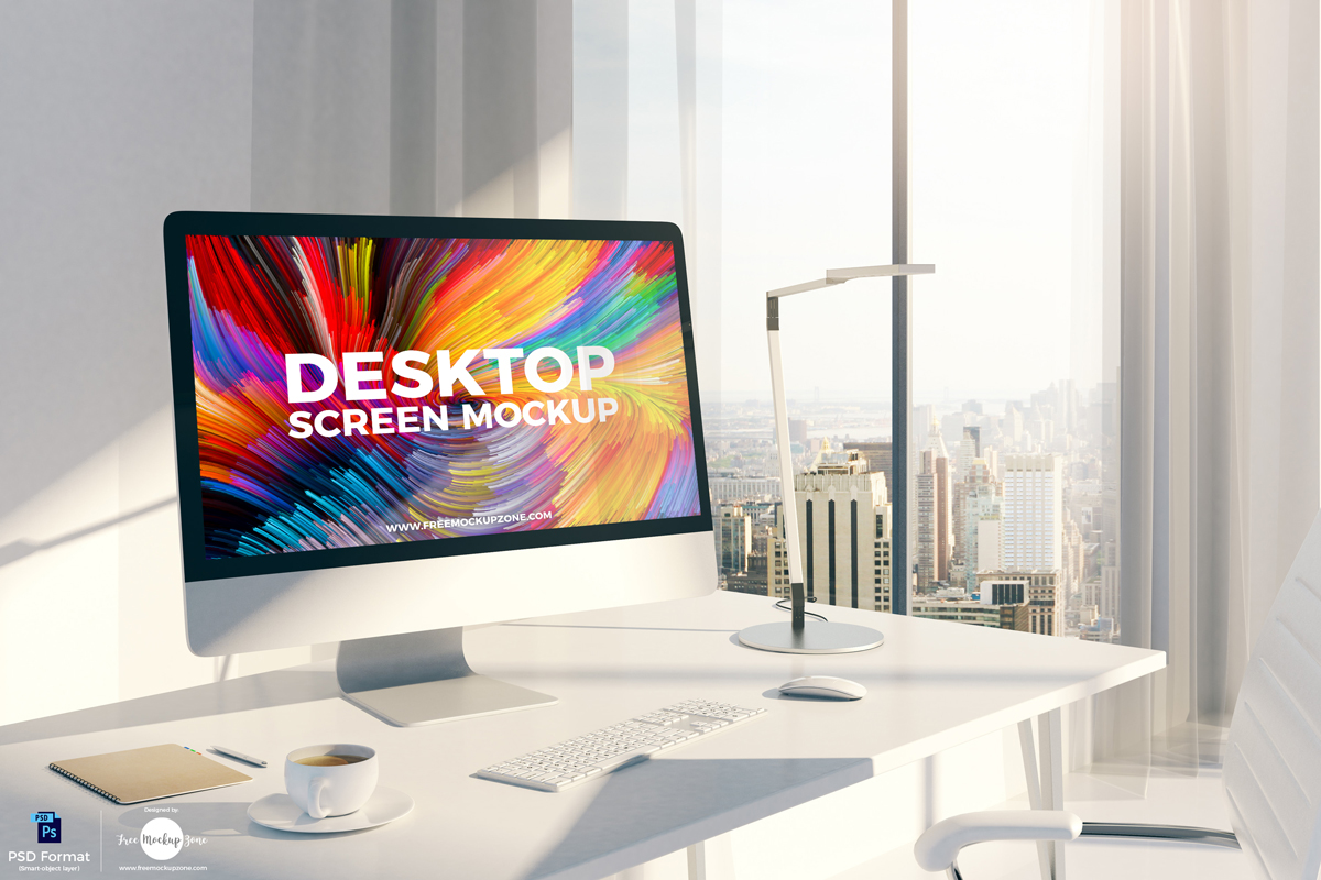 Free Desktop Screen PSD Mockup