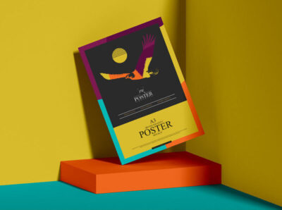 Free Colorful Poster PSD Mockup