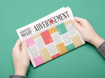 Free Newspaper Advertisement PSD Mockup