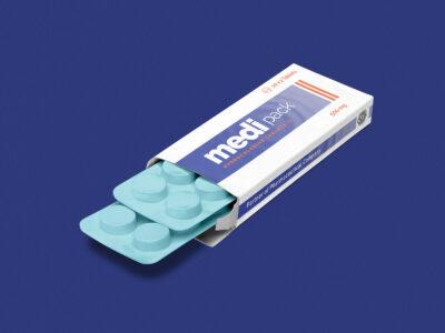 Free Medicine Tablet PSD Box Mockup