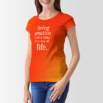 Free Girl Red T-Shirt PSD Mockup
