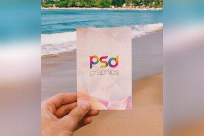 Holding Postcard PSD Mockup