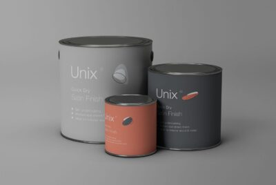 Metal Paint Bucket PSD Mockup