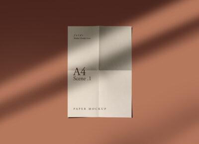 Free A4 Fold Paper PSD Mockup