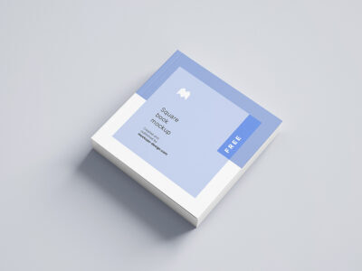 Free Open Square Book Mockup