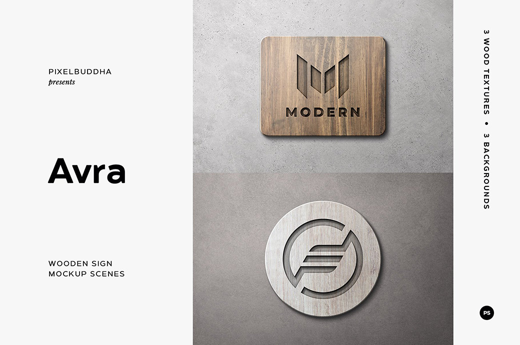 Free Wooden Sign Mockup Template