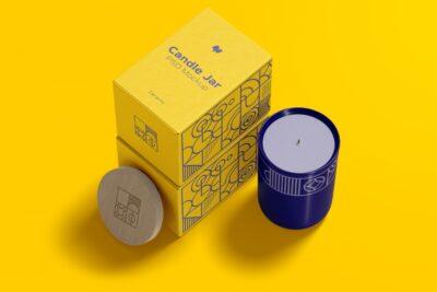 Free Ceramic Candle Box Packaging Mockup