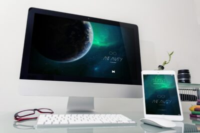 Free iMac and iPad PSD Mockup