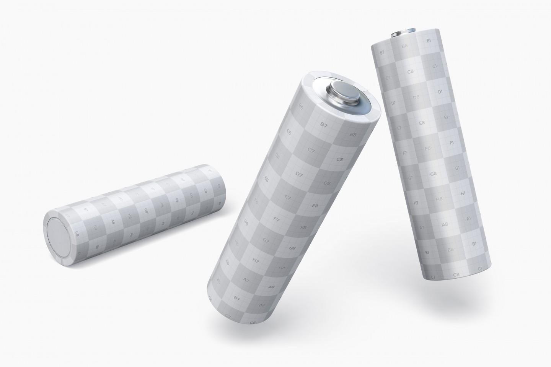 Free Three Batteries PSD Mockup