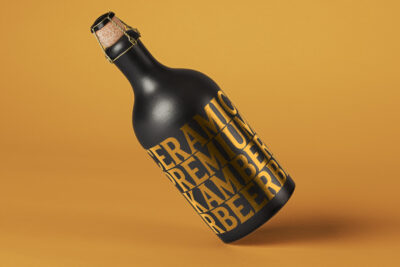 Free Black Ceramic Bottle PSD Mockup