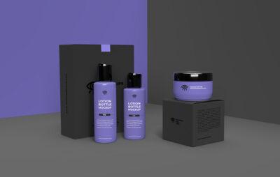 Cosmetic Set Bottle PSD Mockup