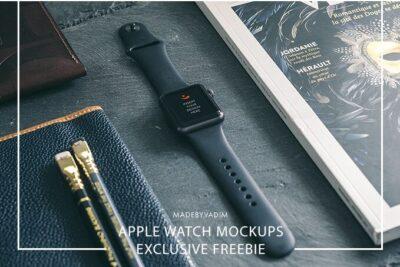 Black Apple Wrist Watch PSD Mockup