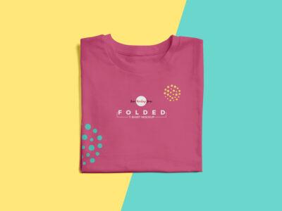 Free Fashion Folded T-Shirt Mockup Scene
