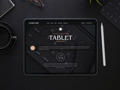Black Office Tablet PSD Mockup