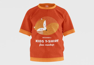 Orange Kids T-Shirt PSD Mockup