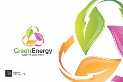 Free Green Energy logo Mockup.