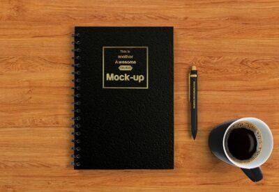 Black Office Notebook PSD Mockup