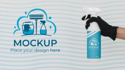 Spray Cleaning Bottle PSD Mockup
