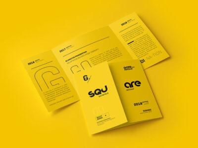 Free folded medium Brochure Mockup