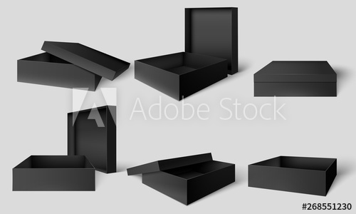 Top Black Box Packaging Mockup