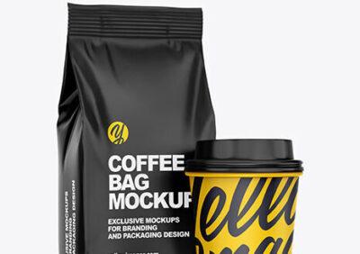 Matt Black Coffee Bag PSD Mockup