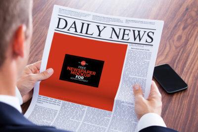 Free Advertisement Newspaper PSD Mockup
