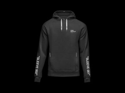 Free Black Hoodie Sweatshirt PSD Mockup